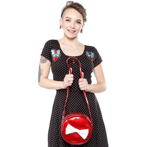 Sourpuss Ship Shape Purse Red Retro Vintage Rockabilly Pin Up Bow Handbag