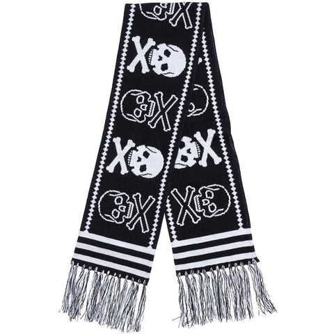 Sourpuss Skulls Knit Scarf Black Skull Crossbones Punk