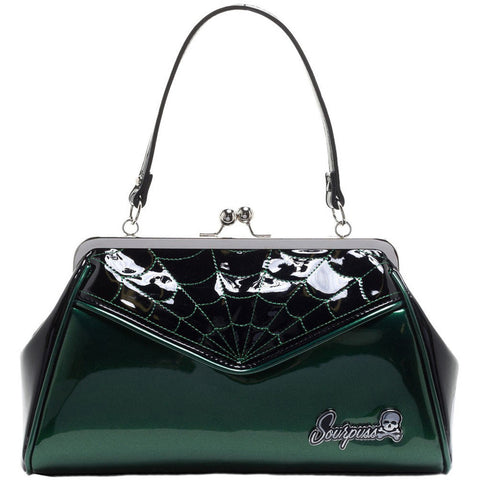 Sourpuss Spiderweb Backseat Baby Purse Green Rockabilly Psychobilly