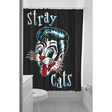 Sourpuss Stray Cats Shower Curtain Rockabilly Music