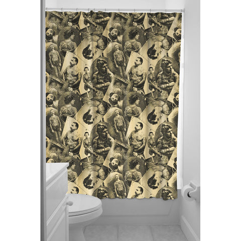 Sourpuss Tattooed Old Timers Shower Curtain Tan Retro Vintage Pictures Inked