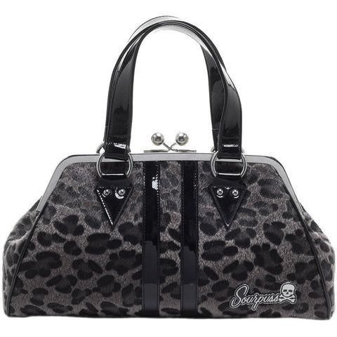 Sourpuss Temptress Gray Leopard Purse Retro Vintage Rockabilly Pin Up Handbag