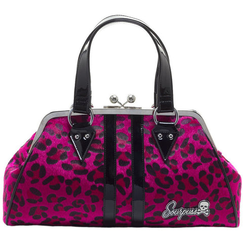 Sourpuss Temptress Pink Leopard Purse Retro Vintage Rockabilly Pin Up Handbag