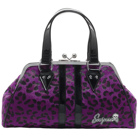 Sourpuss Temptress Purple Leopard Purse Retro Vintage Rockabilly Pin Up Handbag