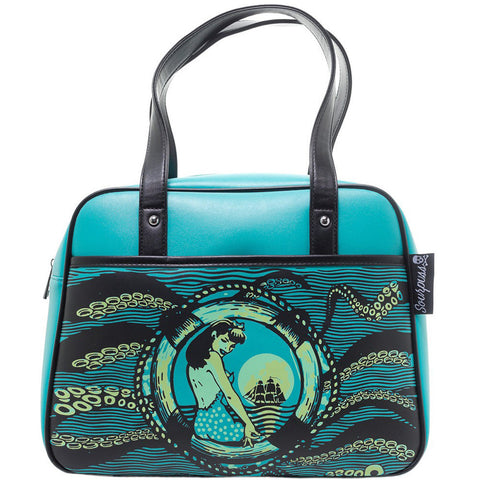 Sourpuss Tentacled Bowler Purse Turquoise Rockabilly Pin Up Nautical Octopus