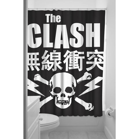 Sourpuss The Clash Shower Curtain Black Skull Bones Old School Punk