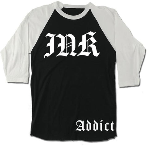 Unisex InkAddict INK Lettering Baseball T-Shirt Black/White Tattoo Inked