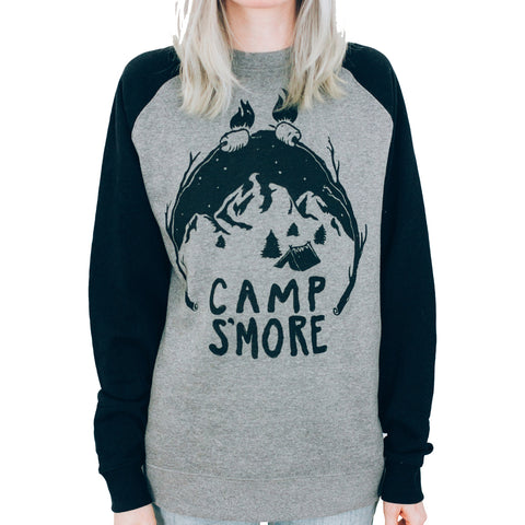 Unisex Pyknic Camp Smore Crewneck Sweatshirt Grey/Black Food Funny