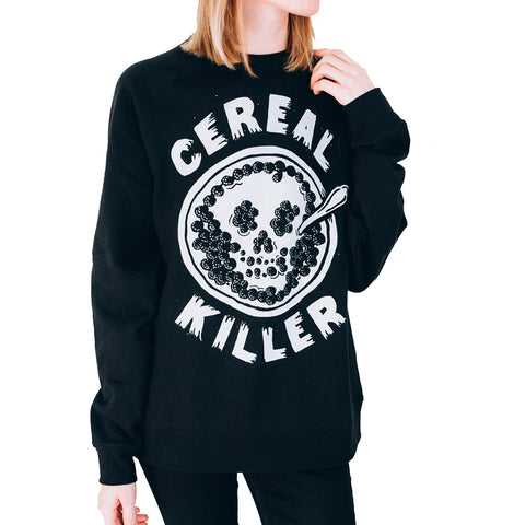 Unisex Pyknic Cereal Killer Crewneck Sweatshirt Black Skull Food Funny
