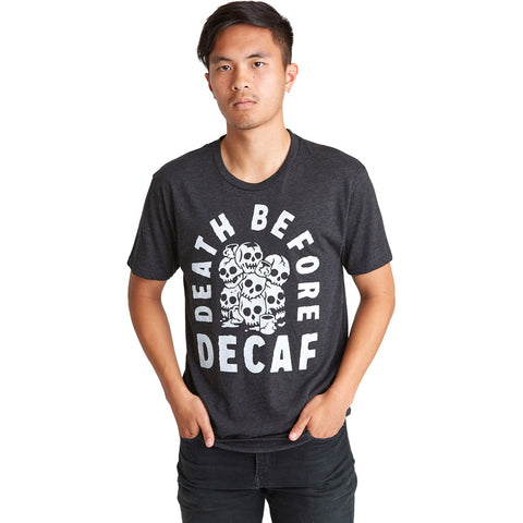Unisex Pyknic Death B4 Decaf T-Shirt Black Skulls Coffee Food Humor Funny