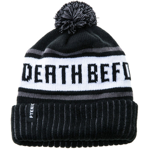 Pyknic Death Before Decaf Beanie Black/White Coffee Funny