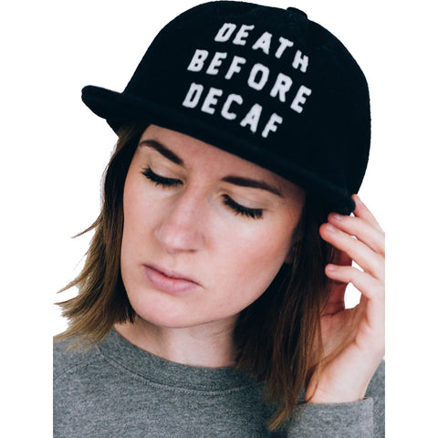Pyknic Death Before Decaf Strapback Hat Black Coffee Funny