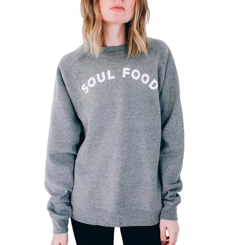 Unisex Pyknic Soul Food Crew Sweatshirt Heather Grey Funny