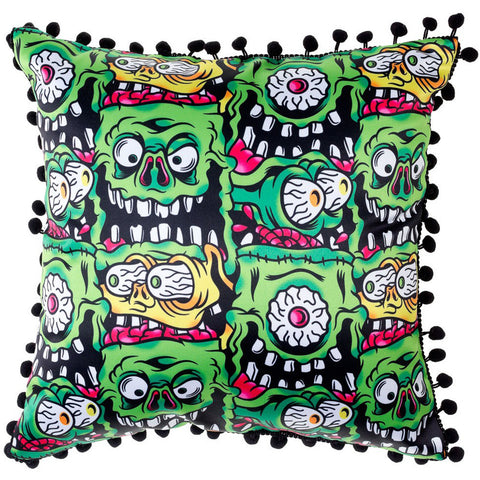 Sourpuss Fink Faces Pillow Green Monster Home Décor Housewares