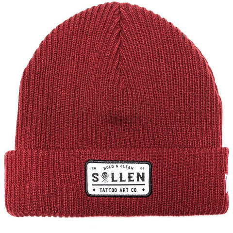 Sullen Bold and Clean Beanie Burgundy Tattoo Art Lifestyle