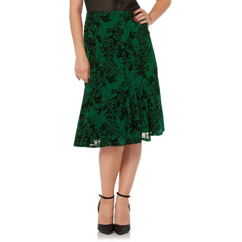 Voodoo Vixen Chloe Flocked Chiffon Skirt Green Retro Vintage Rockabilly Pin Up