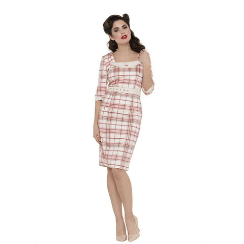 Voodoo Vixen Lilly-Rose Plaid Pencil Dress Pink Retro Vintage Rockabilly