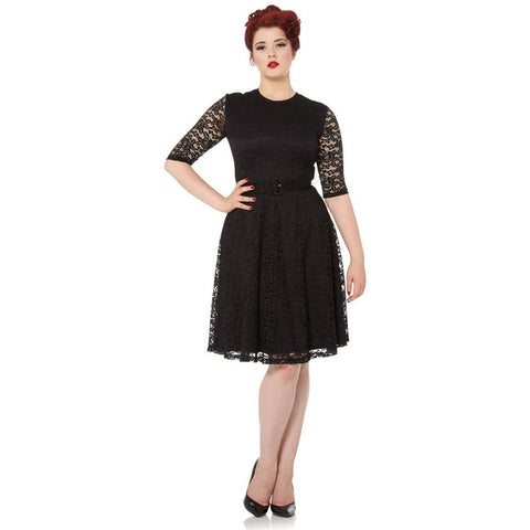 Voodoo Vixen Marie Long Sleeve Lace Flare Dress Retro Vintage Rockabilly Pin Up