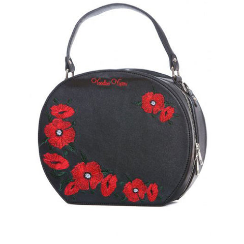 Voodoo Vixen Poppy Bag Black Retro Vintage Rockabilly Pin Up
