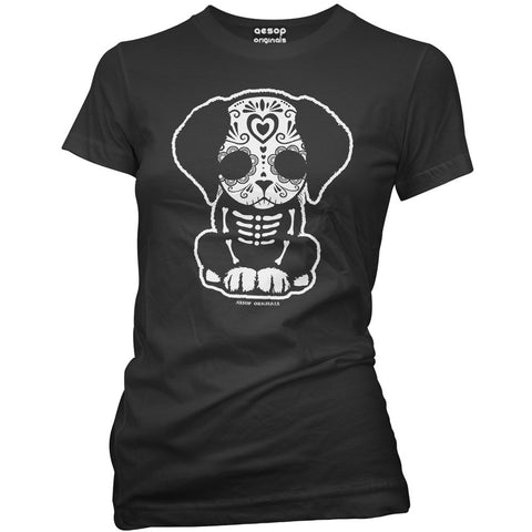 Women's Aesop Originals Day Of The Dead Sugar Skull Puppy Dog T-Shirt Black
