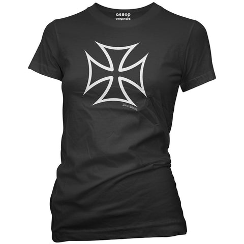 Women's Aesop Originals Hot Rod Iron Cross T-Shirt Black Hot Rod Punk