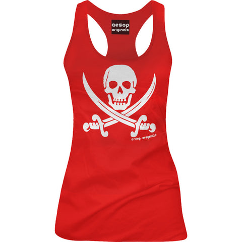 Women's Aesop Originals Jolly Roger Pirate Flag Racer Back Tank Top Red Skull