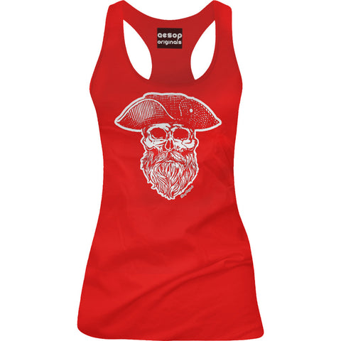 Women's Aesop Originals Ye Olde Salty Dog Racer Back Tank Top Red Sailor Skull