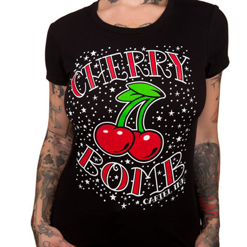 Women's Cartel Ink Cherry Bomb T-Shirt Rockabilly Retro Inspired