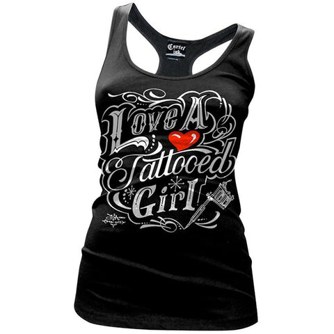 Women's Cartel Ink Love A Tattooed Girl Racer Back Tank Black Tattoo
