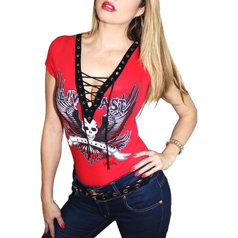 Women's Demi Loon Live Fast Corset Lace-Up Top Red Skull Wings