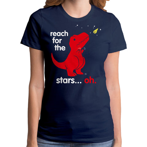 Women's Goodie Two Sleeves Reach For The Stars Dino T-Shirt Navy Funny