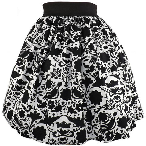 Women's Hemet Black and White Mexican Doves Skirt Retro Vintage Rockabilly