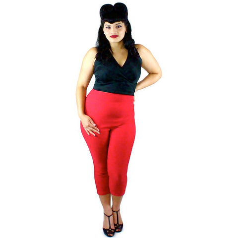Women's Hemet Classic High Waisted Capri Pants Red  Vintage Rockabilly Pin Up