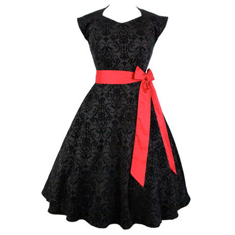 Women's Hemet Damask Vintage Full Circle Dress Black/Red Retro Rockabilly