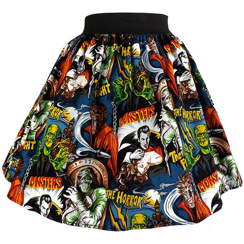 Women's Hemet Perfectly Pleated Monsters Skirt Horror Frankenstein Psychobilly