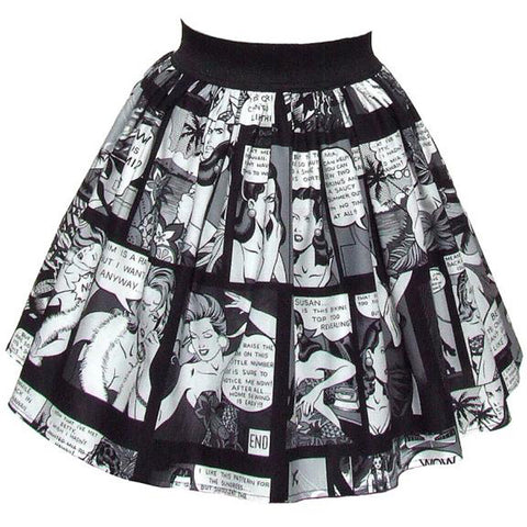 Women's Hemet Pinup Comic Strip Skirt Retro Vintage Inspired Rockabilly