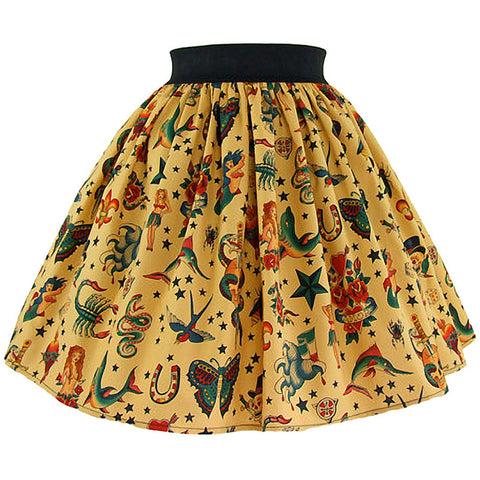Women's Hemet Pinup Tattoo Art Skirt Traditional Flash Retro Vintage Rockabilly