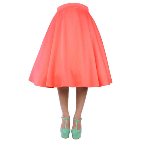 Women's Hemet Pinup Vintage Inspired Full Circle Skirt Coral Retro Rockabilly