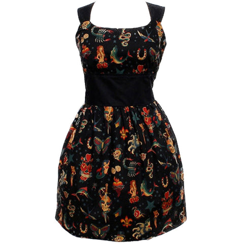 Women's Hemet Riding Shotgun Vintage Tattoo Pin Up Dress Black Retro Rockabilly