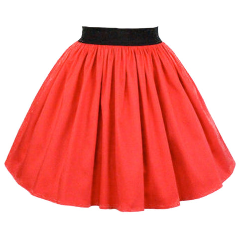 Women's Hemet Solid A-line Pleated Skirt Coral Red Retro Rockabilly