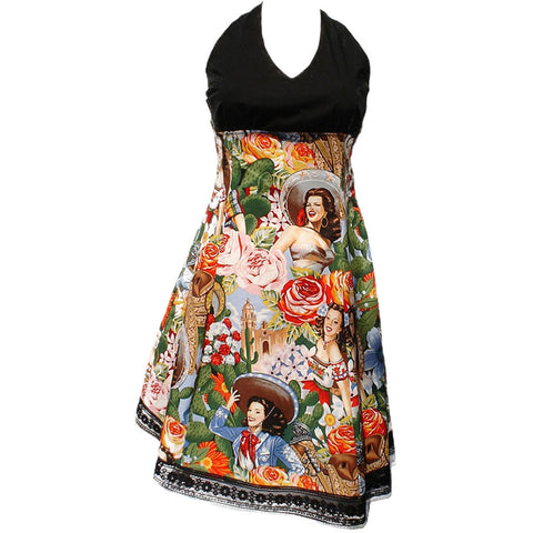 Women's Hemet Swing Me Down Mexican Senoritas Rockabilly Full Dress Retro