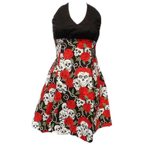 Women's Hemet Swing Me Down Skulls and Roses Rockabilly Dress II Retro Tattoo