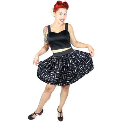 Hemet Vintage Scissors Skirt Black Rockabilly Retro