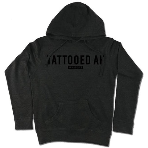 Women's InkAddict Tattooed AF Lightweight Pullover Hoodie Charcoal/Black  Inked