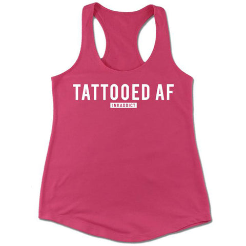 Women's InkAddict Tattooed AF Racer Back Tank Top Hot Pink/White Tattoo Inked