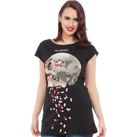 Women's Jawbreaker Be Careful T-Shirt Black Skull Pills Punk