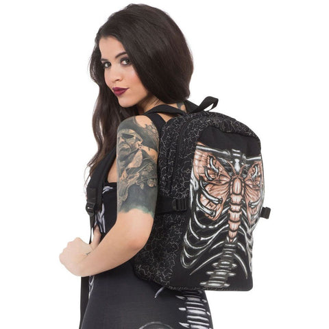 Women's Jawbreaker Beat Of My Wings Backpack Moth Ribcage Bones Skeleton