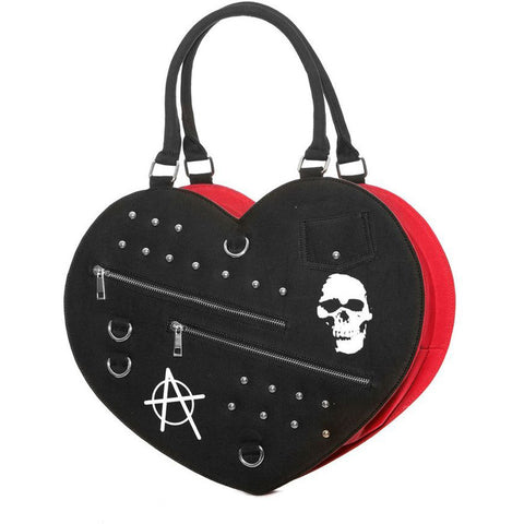 Women's Jawbreaker Big Punk Heart Bag Black/Red Skulls Plaid Studs