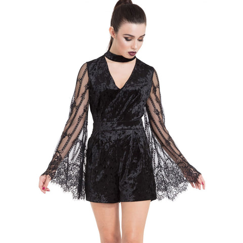 Women's Jawbreaker Crushed Velvet Lace Playsuit Black Goth Gothic Alternative