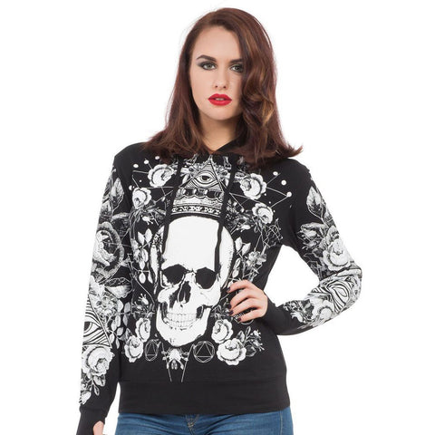 Women's Jawbreaker Dark Conspiracy Hoodie Black Skull All Seeing Eye Flowers